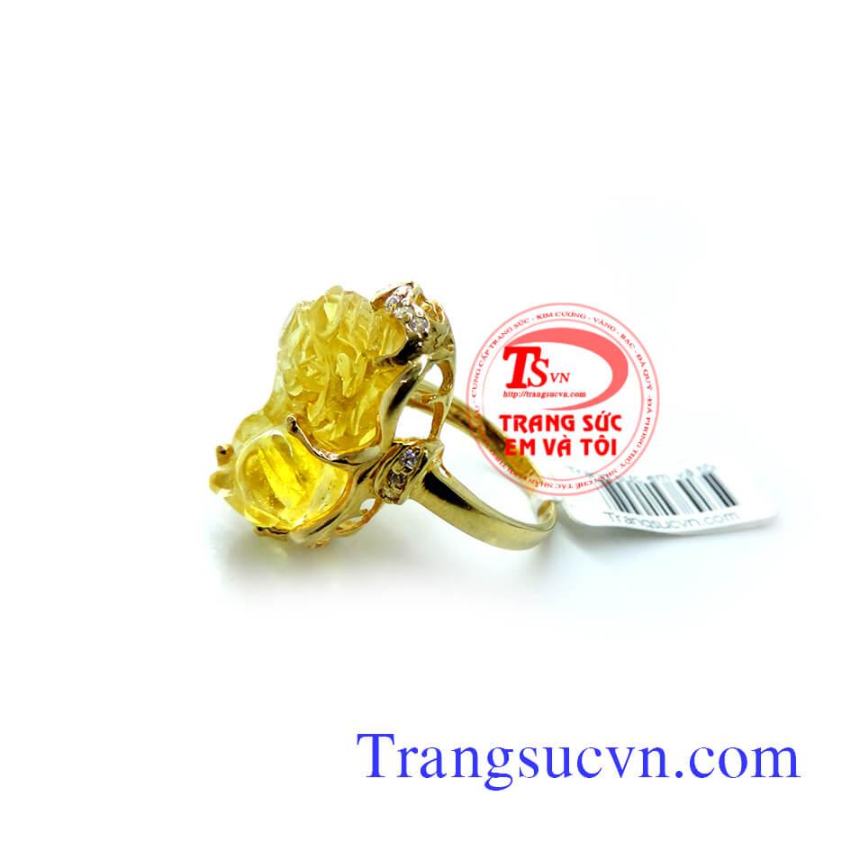 Nhẫn nữu tỳ hưu, nhẫn thạch anh vàng, tỳ hưu màu vàng